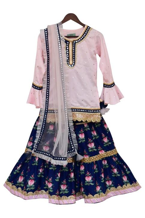 Bell Sleeve Kurta With Sharara & Dupatta