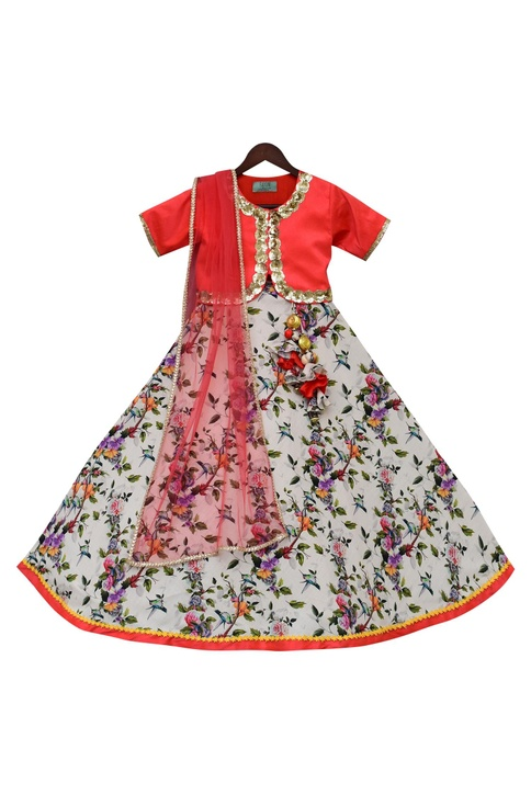 Embroidered Blouse With Floral Print Lehenga & Dupatta