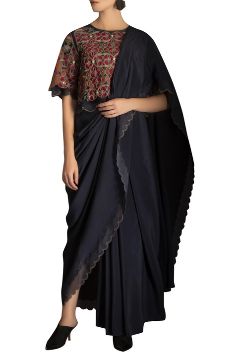 Embroidered blouse with pre draped sari