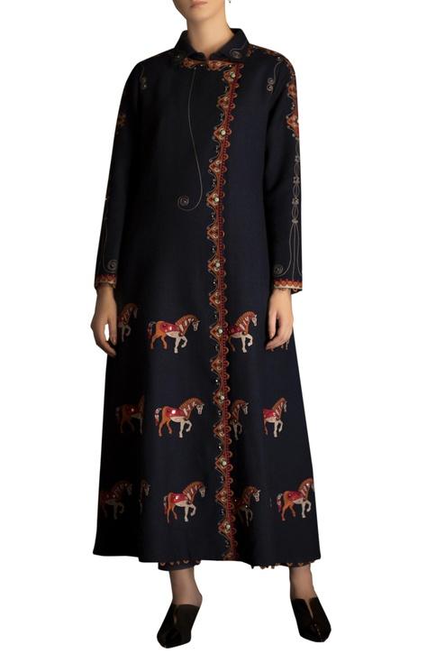 Horse motif & stone embellished jacket kurta