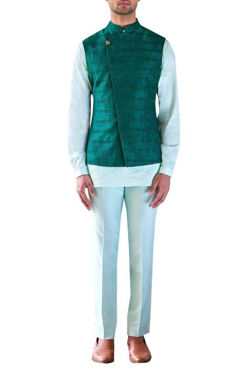 Kurta set with overlap nehru jacket
