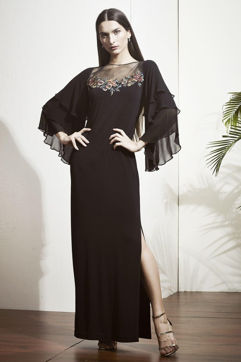 Black gown with tiered ruffle sleeves