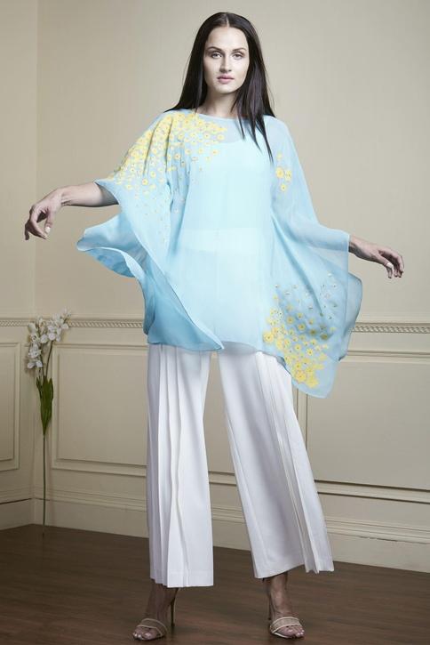 Sky blue embroidered kaftan top