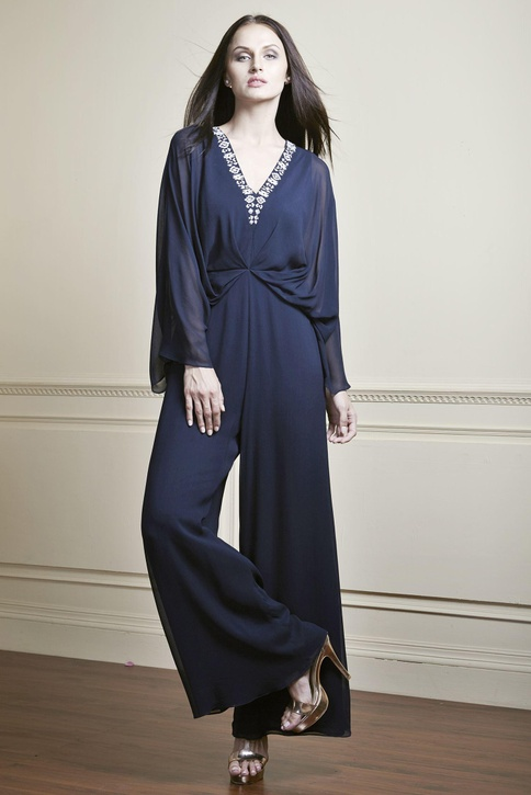Navy blue gathered waist jumpsuit