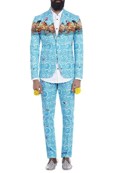 Blue wave print blazer