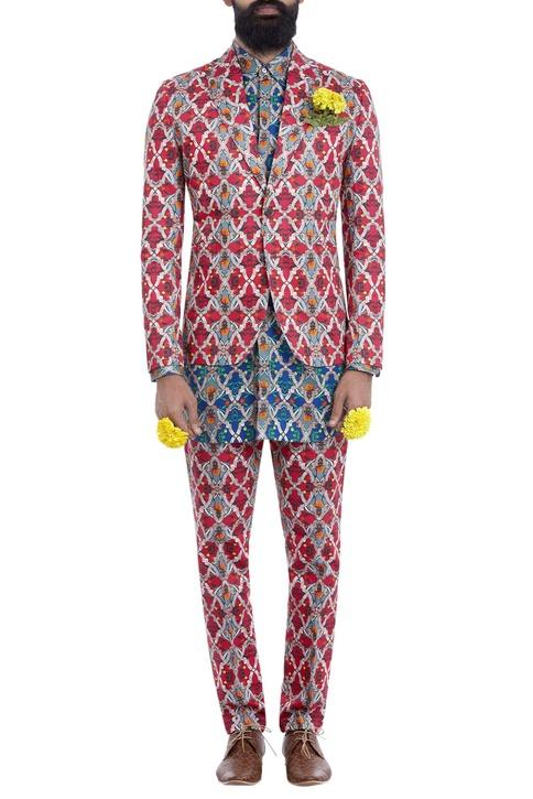 Multi-colored motif print blazer
