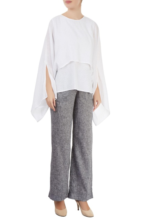 Grey straight-fit pants