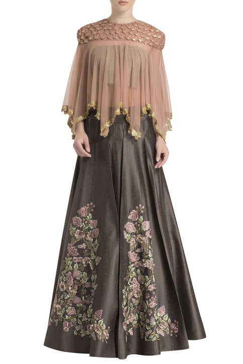 Shadow grey & dusky pink embroidered skirt set