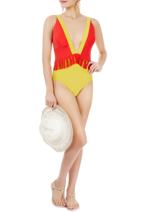 Red & yellow one-piece with fringes