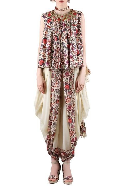 Beige printed top with dhoti pants featuring gathers at the adorned