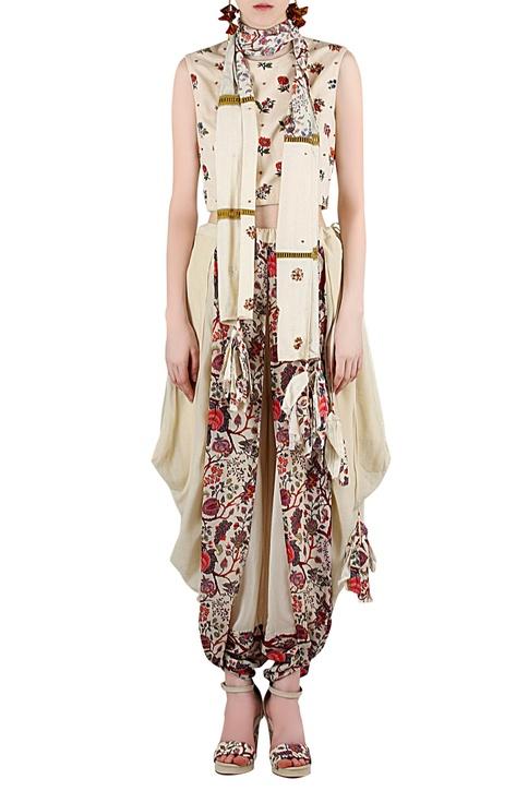 Beige printed & embellished pant set
