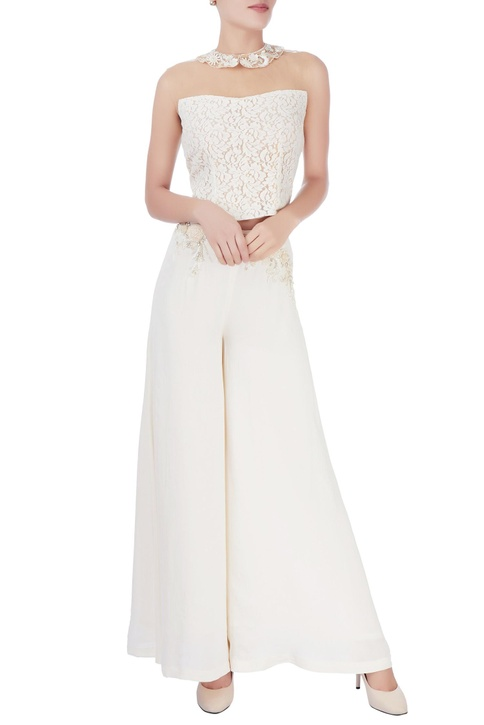 White flared embellished trousers