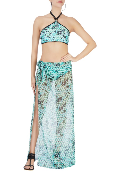 Green abstract printed sarong
