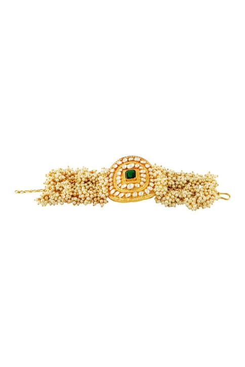 Gold plated bracelet with pearls