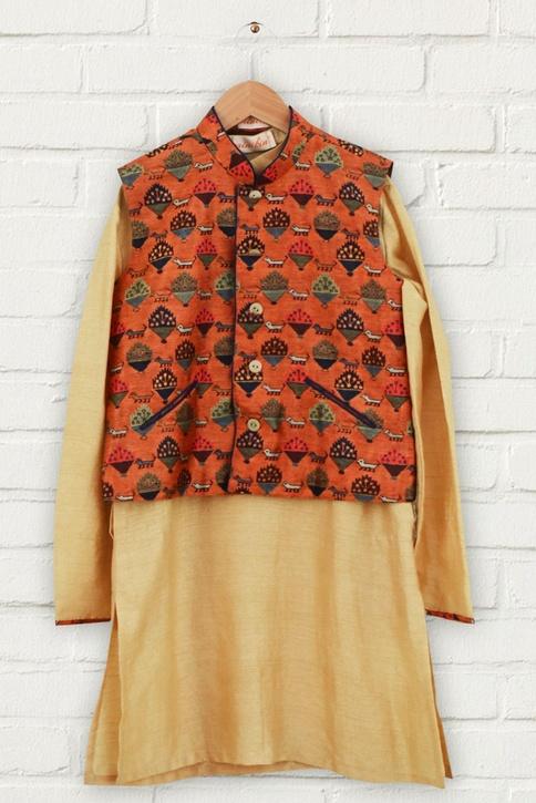 Orange printed jacket & kurta