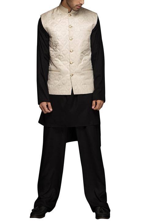 Black heart motif nehru jacket set