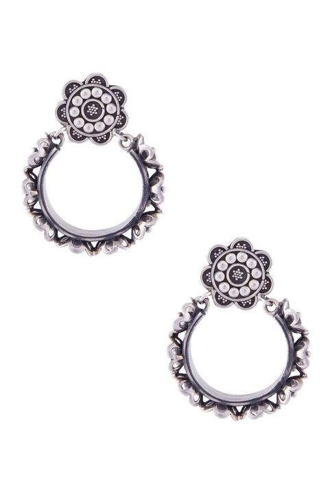 Silver floral bail earrings