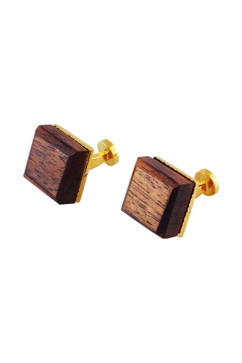 Gold handcrafted wood cube cufflinks