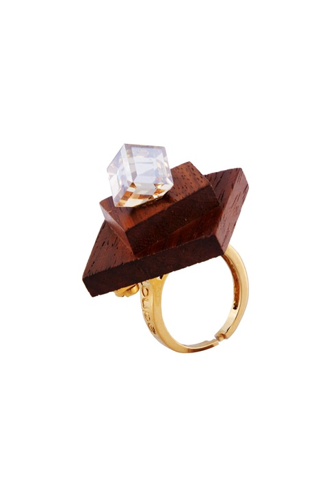 Gold wood & swarovski crystal ring