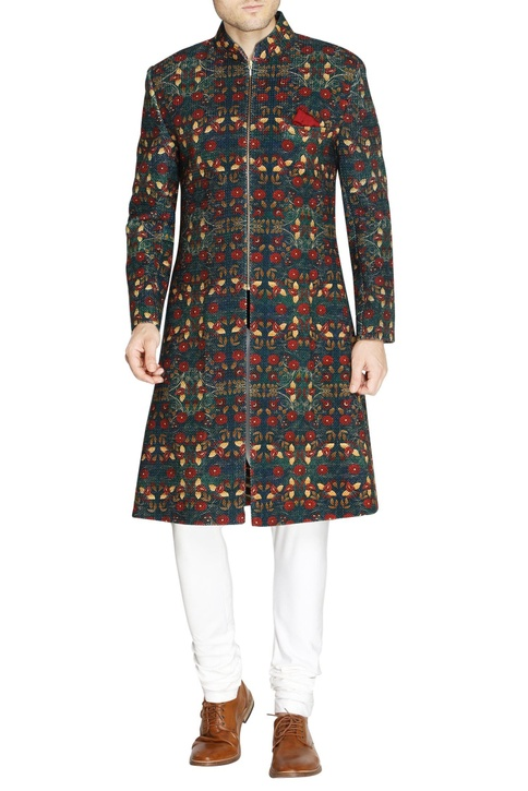 Blue floral embroidered sherwani
