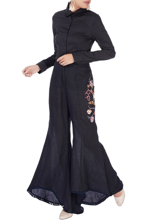 Black embroidered bell bottom pants