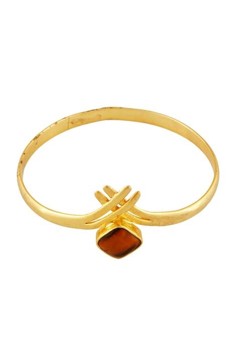 Gold tigers eye stone bangle