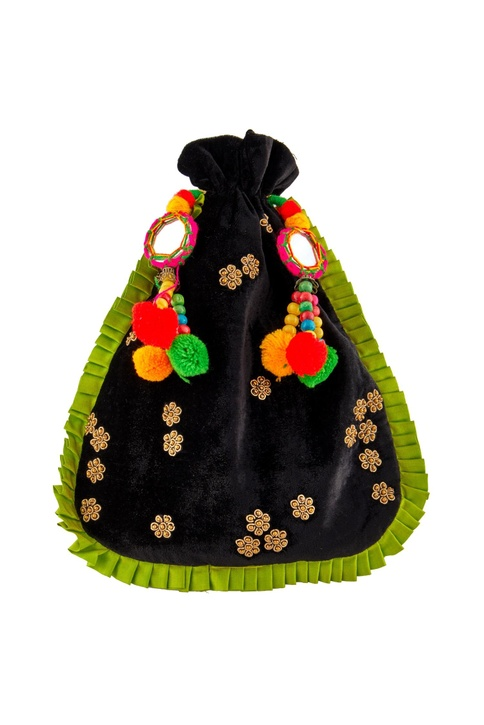 Black potli with colorful pompoms