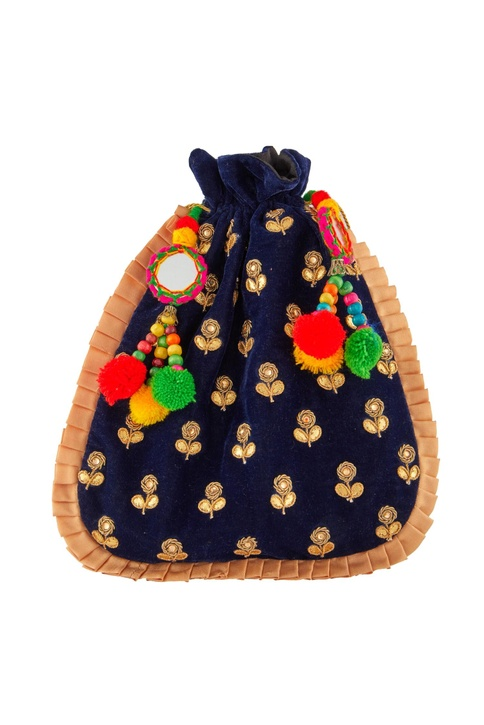 Blue potli with colorful pompoms