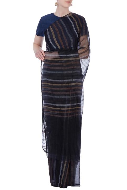 Blue linen sari blouse