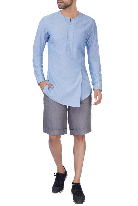 Grey linen formal shorts