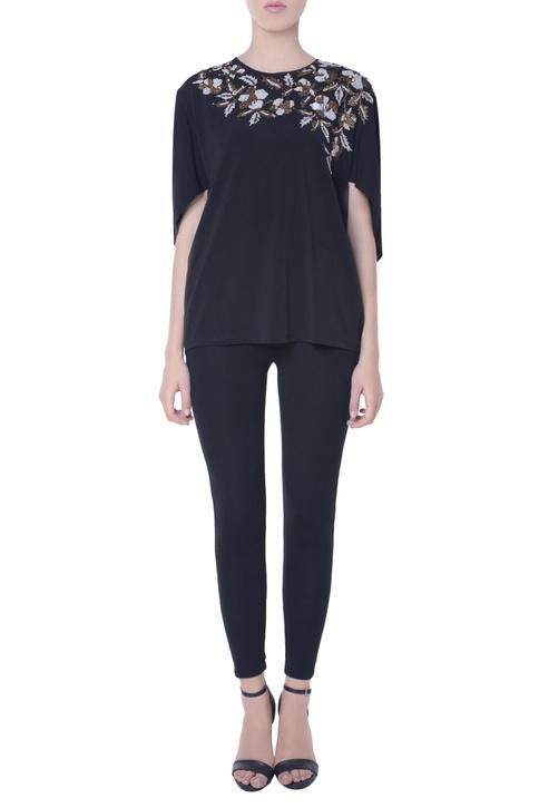 Black embellished cape blouse