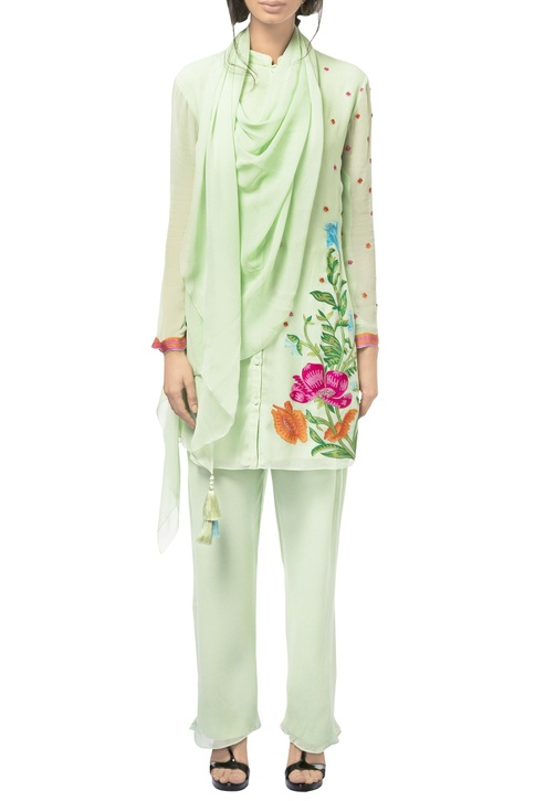 Sorbet green georgette resham & sequin embroidered tunic with pants