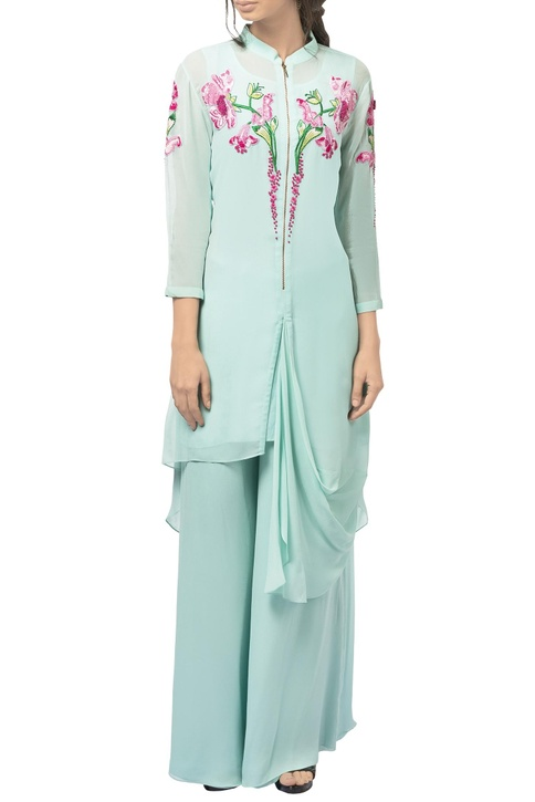Mint green georgette draped tunic with pants