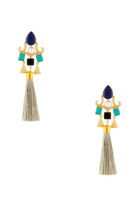Multicolored tassel long earrings