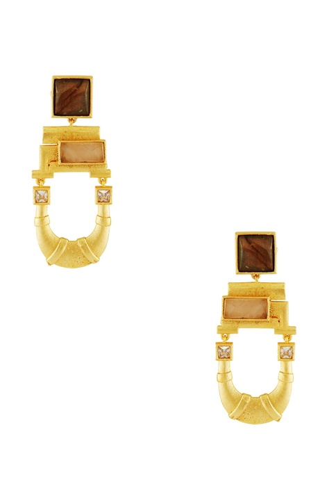 Gold plated stone earrings