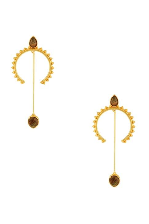 Gold half moon shaped earrings