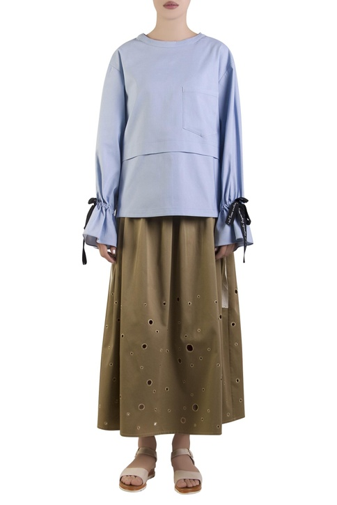 Blue oversized top with flared sleeves