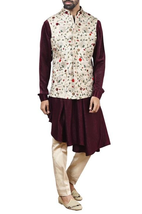 Beige nehru jacket with kurta & beige pants