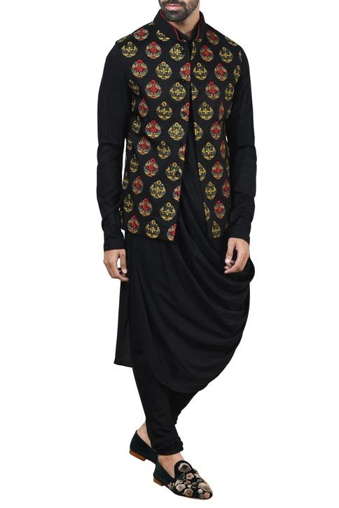 Black embroidered nehru jacket set