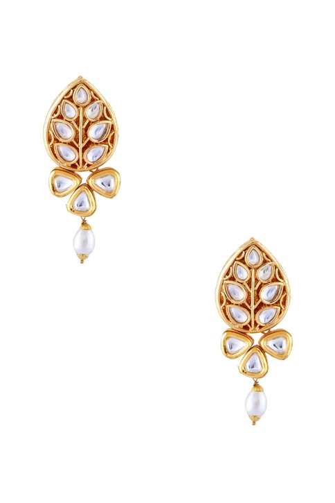 Gold semi-precious stones gold plated stud earrings