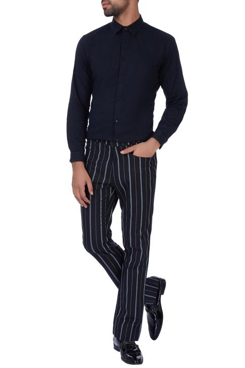 Black stripe casual pants