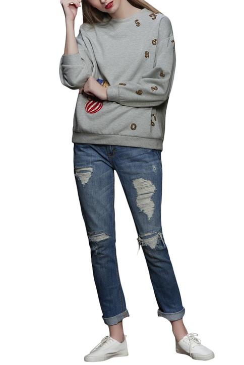 Grey elephant motif embroidered sweatshirt