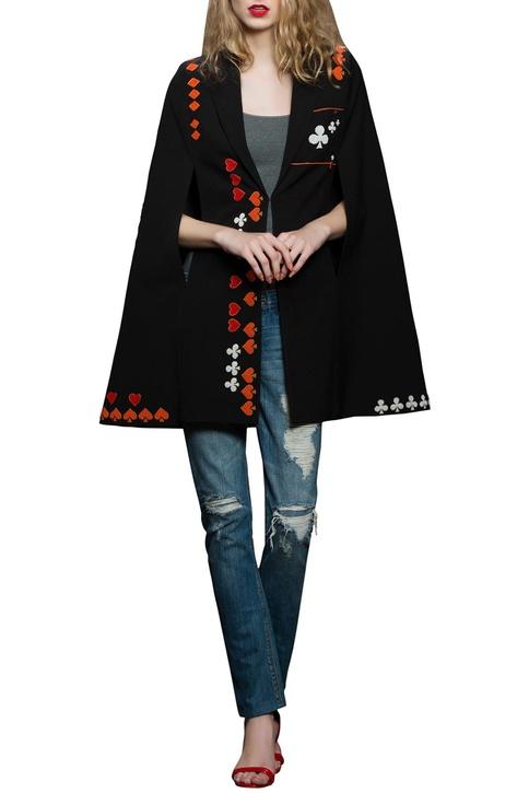 Black crepe embroidered cape