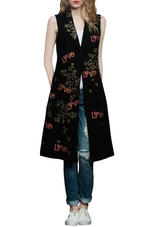 Black bead & thread embroidered jacket