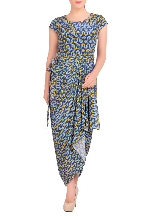 Blue & yellow dhoti dress