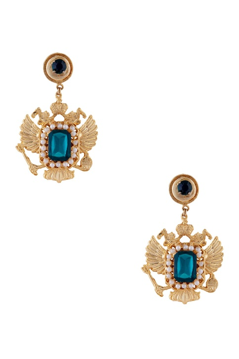 Gold plated warrior pearl earrings