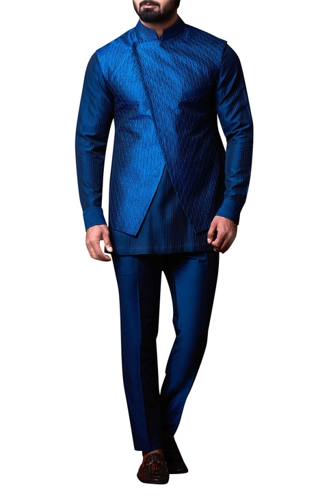 Blue asymmetric bandhi jacket set
