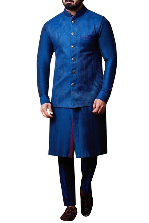 Teal blue bandhi jacket set