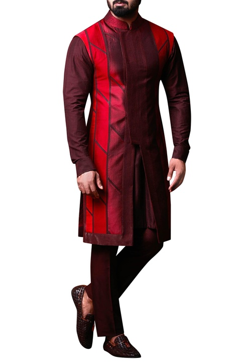Maroon & red patchwork jacket set