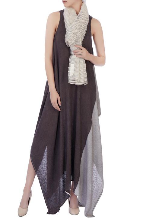Ecru-beige silk linen block printed scarf